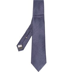 canali embroidered silk tie - blue