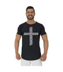 camiseta longline alto conceito crucifixo motivacional preto