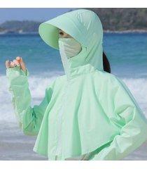señoras verano nuevo sombrero de sol extraíble verde