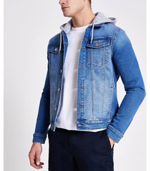 river island mens blue muscle fit hooded denim jacket