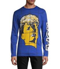 moschino couture! men's windowpane graphic cotton pullover - blue - size 48 (38)