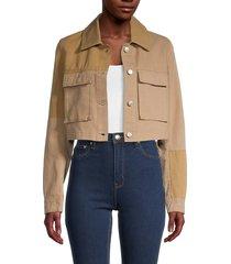 avec les filles women's tonal colorblock cropped jacket - sand khaki - size m