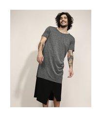 camiseta unissex alongada com lurex manga curta gola careca cinza mescla escuro