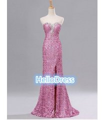 long sweetheart open back pink sequin prom homecoming formal dresses with slit
