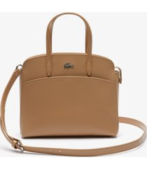 lacoste chantaco handles pique leather handbag