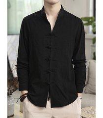 incerun mock estilo chino de algodón y cáñamo para hombre cuello delgado botón de pan de manga larga camisa