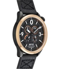 avi-8 men's lancaster bomber chronograph sugar blue's edition black genuine leather strap watch 44mm