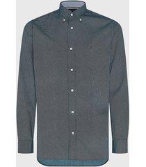 camisa tommy hilfiger geo floral print shirt azul - calce regular