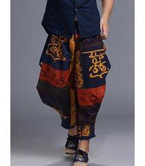 hombres estilo étnico viaje casual suelto estampado mediados de cintura pantalones