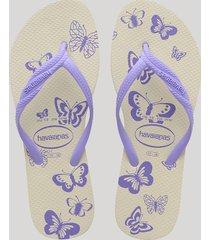 chinelo feminino havaianas com estampa de borboletas bege claro