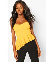 crepe cup detail peplum top, yellow