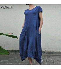 zanzea verano de las mujeres de la manga corta vestido de la playa de los vestidos ocasionales flojos kaftan -azul