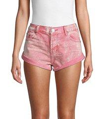 logo denim shorts
