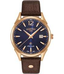 roamer men's 3 hands date 41 mm dial dress watch in steel case on strap