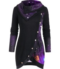 cowl neck galaxy print panel tunic sweater