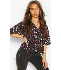 geweven mini-blouse met polkadots in kleine maten, zwart