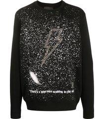 john richmond star man studded sweatshirt - black