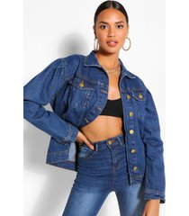 puff sleeve hem detail jean jacket, mid blue