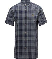 ss check shirt overhemd met korte mouwen blauw lyle & scott