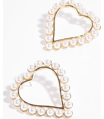 womens be our pearl heart hoop earrings - gold