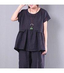zanzea pullover rullfled tops mujeres o cuello de manga larga blusa ocasional flouncing negro -negro
