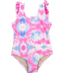 girl's shade critters kids' tie dye one-piece swimsuit, size 6 - pink