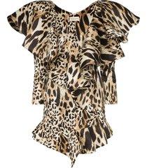 alexandre vauthier animal-print ruffled mini dress - lynx multicolor