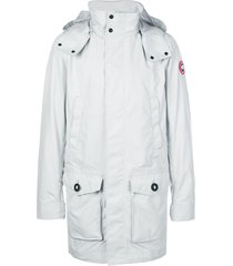 canada goose logo patch padded coat - silver