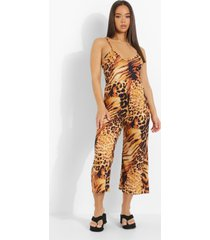 dierenprint culotte jumpsuit met halter neck en laag decolleté, brown