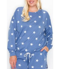coin 1804 plus size star long sleeve pullover top