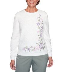 alfred dunner loire valley embroidered chenille sweater