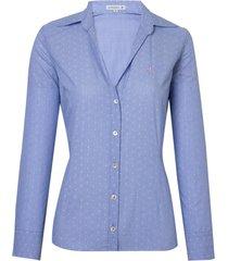 camisa dudalina manga longa tricoline maquinetado fio coupé feminina (estampado, 46)