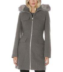 laundry by shelli segal faux-fur-trim hooded coat