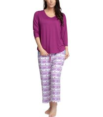 muk luks solid top & capri pants pajama set