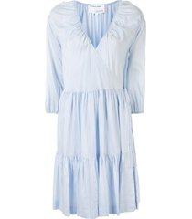 designers remix tiered wrap flared dress - blue