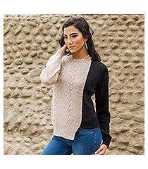 alpaca blend sweater, 'asymmetrical elegance' (peru)