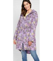 gedessineerde, lange outdoor jas met capuchon