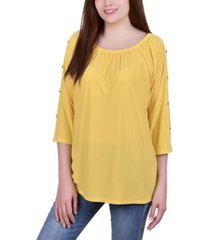 ny collection petite elastic neck tunic with sleeve cut-outs