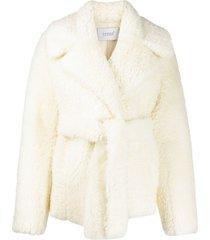 common leisure short wrap coat - white