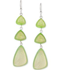style & co silver-tone lime green triple drop earrings, created for macy's
