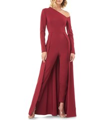women's kay unger one-sleeve maxi romper, size 12 - red