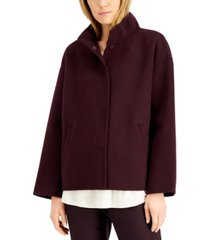 eileen fisher stand-collar snap-front coat
