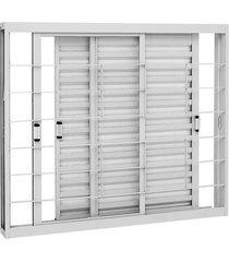 janela de aço veneziana de correr kompacta branca com grade quadriculada 3 folhas móveis 100x120x11,3cm - sasazaki - sasazaki