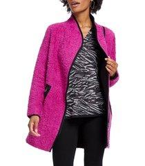women's nic+zoe pretty in pink fuzzy cotton blend coat