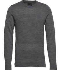 fisherman knitted jumper gebreide trui met ronde kraag grijs junk de luxe