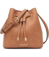 calvin klein gabrianna mini leather bucket bag