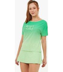 t-shirt alto giro skin fit decote canoa e silk verde joy 2111737 granny smith apple