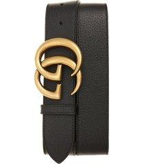 men's big & tall gucci marmont logo leather belt, size 115 eu - black