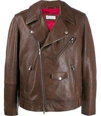 brunello cucinelli zip-up multi-pocket biker jacket - brown