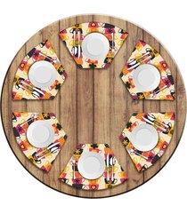 jogo americano para mesa redonda wevans xícaras coloridas kit com 6 pçs love decor